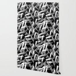 mock graffiti_black white gray Wallpaper