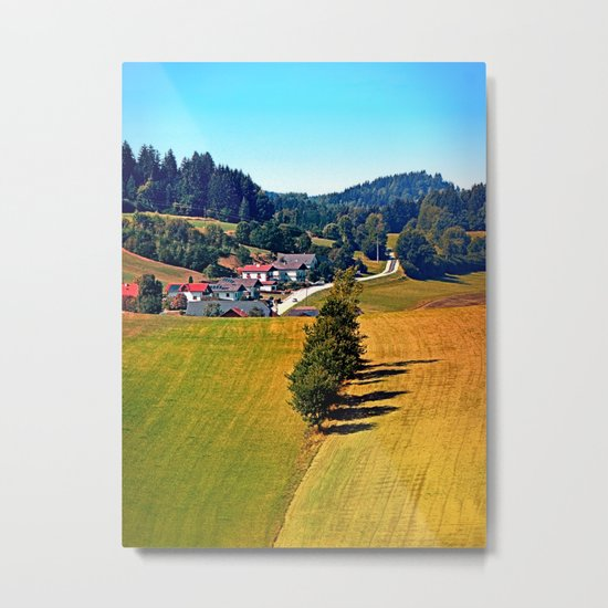 A village, some trees, and more boring scenery Metal Print