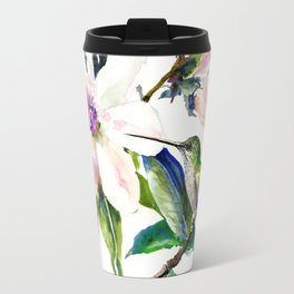 Hummingbird and Magnolia Flowers Travel Mug
