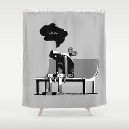 Robot Blues Shower Curtain