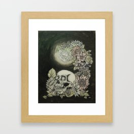 Skull and Moon Framed Art Print