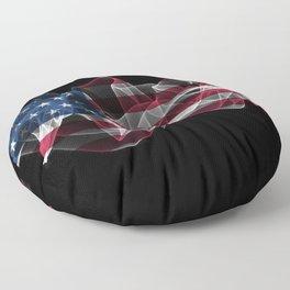 USA Smoke Flag on Black Background, USA flag Floor Pillow