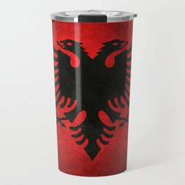 Albanian Flag in Vintage Retro Style Travel Mug