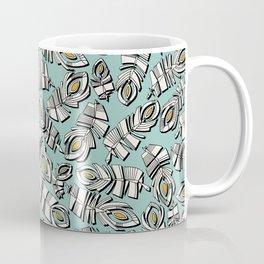 deco feathers mint saffron Coffee Mug