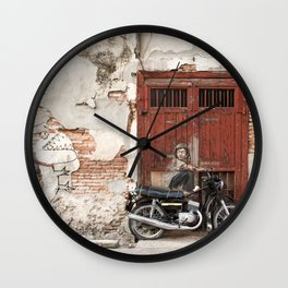 Irrational Fears - Dinosaur Chasing Boy On Motorcycle Wall Clock