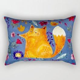 The Smart Fox in Flower Garden Rectangular Pillow