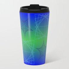 Blue Stars and Teal Squares Travel Mug