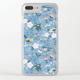 Birds & Blooms (Blue) Clear iPhone Case