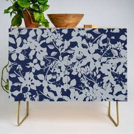Blue and Grey Floral Pattern - Broken but Flourishing Credenza