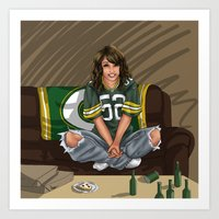 packers Art Prints featuring Packers girl by Flocco