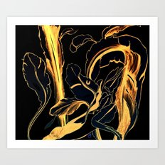 Plant in Blue Marker - Leaf of Life Miracle Leaf - Black and Gold Art Print