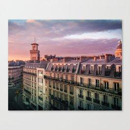 "Paris Urban Photography, ""Paris Sunset"" Large Art Print, Travel Wall Art, Living Room Fine Art Photo Canvas Print"