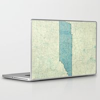 tennessee Laptop & iPad Skins featuring Tennessee State Map Blue Vintage by City Art Posters