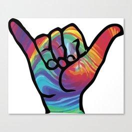 Shaka Hands with Tie Dye, trending sticker Canvas Print
