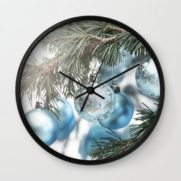 Blue Christmas baubles on tree Wall Clock