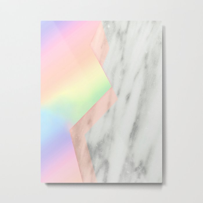 Unicorn Texture on Carrara Italian Marble Metal Print