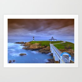 View of Pancha Island in Ribadeo, Lugo before a storm. Art Print