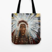 native american Tote Bags featuring Native American by Mary J. Welty