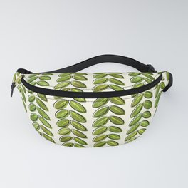 Summer Graphic Organic Painted Leaves Unique Different Green Olive Hand Drawn Fanny Pack