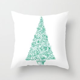 green Christmas tree in New Zealand Throw Pillow