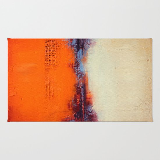 Orange and White Rug