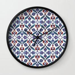 Iznik Tile Pattern Red Blue White Green Wall Clock
