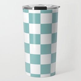 Chalky Blue Checkers Pattern Travel Mug
