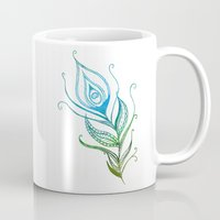 peacock feather Mugs featuring Peacock Feather by Jozi