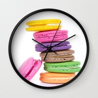 macaroons Wall Clocks featuring MacaroonS Colorful by Whimsy Romance & Fun