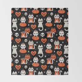 Halloween Kitties (Black) Throw Blanket