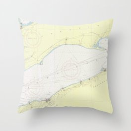 Vintage Map of Lake Erie (1955) Throw Pillow