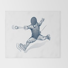 Fencer. Print for t-shirt. Vector engraving illustration. Throw Blanket