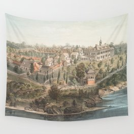 Vintage Pictorial Map of Mount Vernon VA (1859) Wall Tapestry