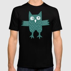 Green Owl MEDIUM Black Mens Fitted Tee