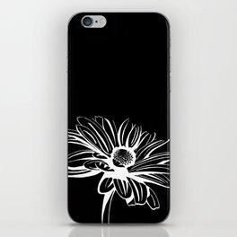 Gerbera Daisy Black & White Print iPhone Skin
