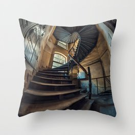 Old forgotten staircase Throw Pillow