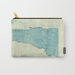 Vermont State Map Blue Vintage Carry-All Pouch