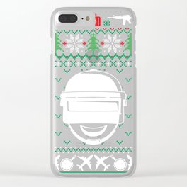 Military Ugly Christmas Sweater Clear iPhone Case