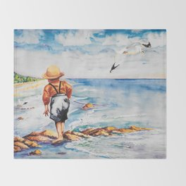 Watercolor Boy with Seagulls Throw Blanket