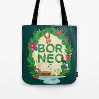 indonesia Tote Bags featuring Borneo Indonesia by swanderfulthings