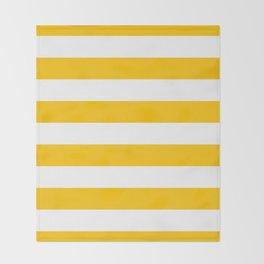 Aspen Gold Yellow and White Wide Horizontal Cabana Tent Stripe Throw Blanket