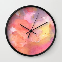 Sunset Color Palette Abstract Watercolor Painting Wall Clock