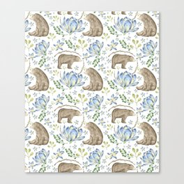 Bears in Blue Flowers Canvas Print