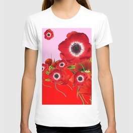 RED TIDE OF RED SPRING ANEMONE  GARDEN  FLORAL T-shirt