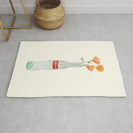California Dreaming ~ Vintage Cola Bottle & Flowers Rug