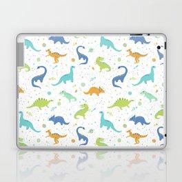 Space Dinosaurs on White (Orange + Blue) Laptop & iPad Skin