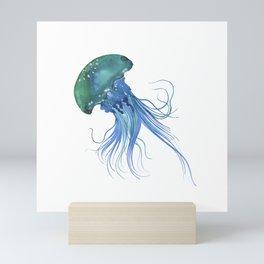 Blue & Teal Abstract Watercolor Jellyfish Minimalist Coastal Art - Coast - Sea - Beach - Shore Mini Art Print