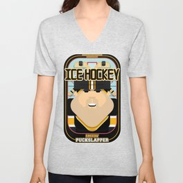Ice Hockey Black and Yellow - Faceov Puckslapper - Victor version Unisex V-Neck