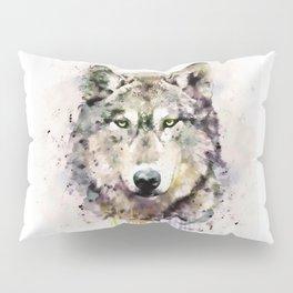 Wolf Head Watercolor Portrait Pillow Sham