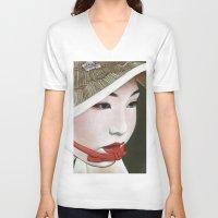 geisha V-neck T-shirts featuring Geisha by Andrea Maiorana